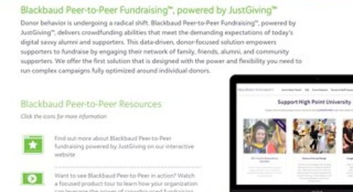 Data Sheet: Blackbaud Peer-to-Peer Fundraising for Higher Education