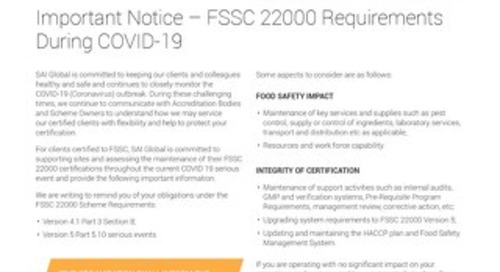 FSSC 22000 Requirements During COVID-19