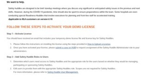 RL6: How to implement Safety Huddles demo licenses