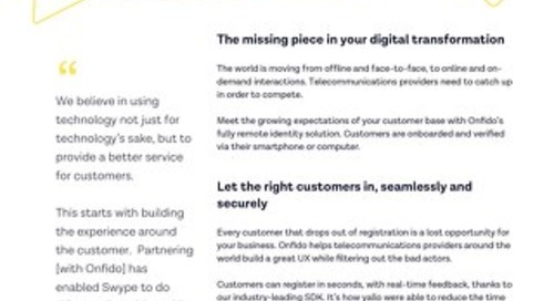 Datasheet: Onfido & Telecommunications