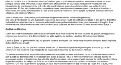 ISO 9001 Sector Specific Scheme Requirements - French