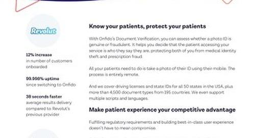 Datasheet: Onfido & Healthcare