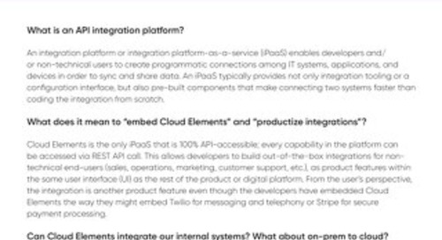 Cloud Elements Buyer's FAQ 2020