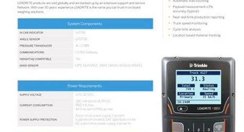 Trimble LOADRITE H2250 Datasheet - English