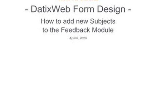 DatixWeb: Job Aid for Adding Subjects to feedback