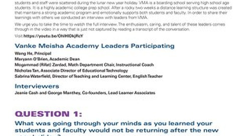 Q&A on Distance Learning with Vanke Meisha Academy Leaders