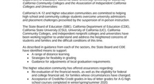 Joint Statement on CA K12 Education 4-1-20