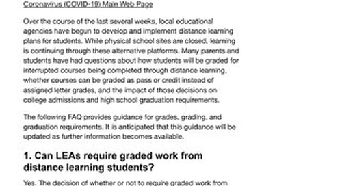 FAQs on Grading and Graduation Requirements - Health Services & School Nursing (CA Dept of Ed)