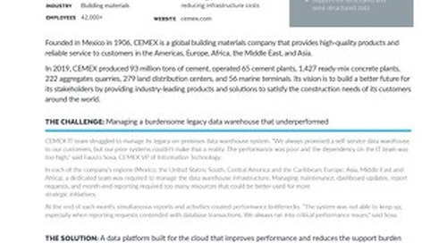 CEMEX: Enabling a Data Strategy for a Building Materials Platform with a Snowflake Data Lake