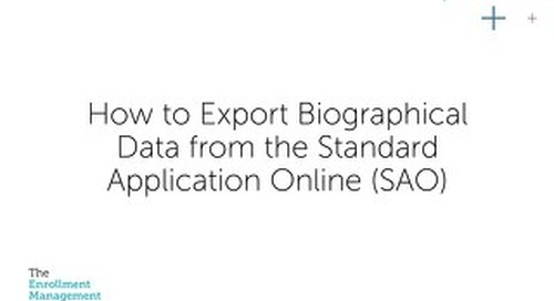 How to Export Biographical Data from the Standard Application Online (SAO)