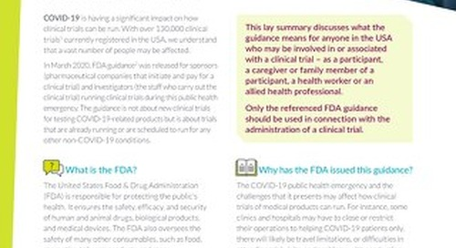 COVID-19 Lay Summary-FDA Conduct of Clinical Trials