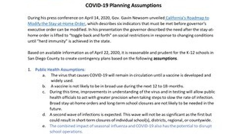 San Diego COE Assumptions and Recommendations