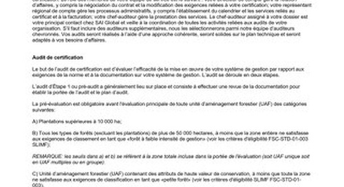 FSC Sector Specific Scheme Requirements - French