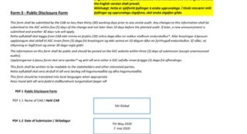 ASC093 Fisk Seafood Ltd – Holar & Porlakshofn Sites
