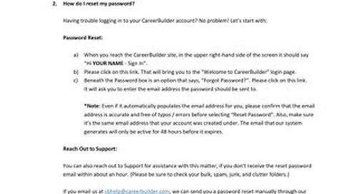 CareerBuilder Job Seeker Tool FAQs
