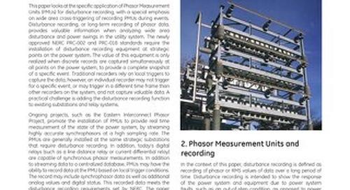 White Paper: Application of Phasor Measurement Units for Disturbance Recording