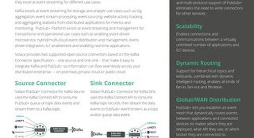 Solace PubSub+ Connectors: Kafka Connectors Datasheet