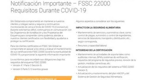 FSSC 22000 Requisitos Durante COVID-19