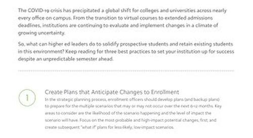 [Tip Sheet] Preparing for an Unpredictable Enrollment Season
