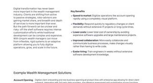 Industry Brief: Unqork for Wealth Management