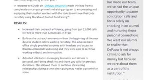 DePauw University shifted from an entirely on-campus phone program to 100% remote work while maintaining outreach momentum.