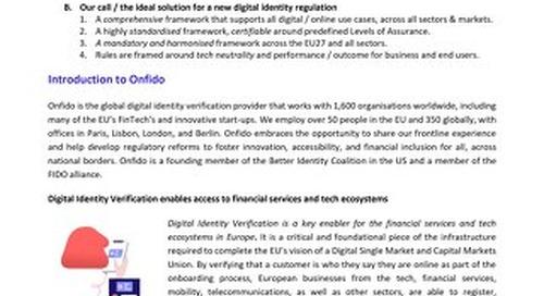 Call for a comprehensive and harmonised EU regulatory framework for digital identity