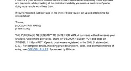Email Template: Sweepstakes Email from Firms to Clients