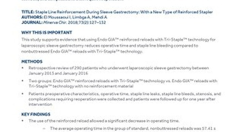 Staple Line Reinforcement During Sleeve Gastrectomy: With a New Type of Reinforced Stapler
