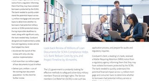 US Bank: Look-Back Review for Servicemembers Civil Relief Act (SCRA) Compliance Accelerates Compliance and Cuts Costs