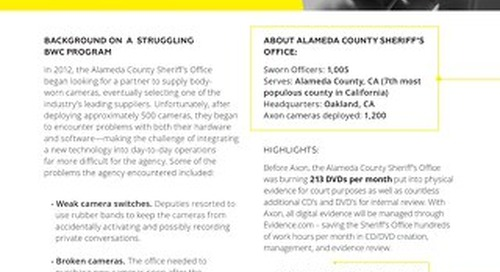 Case Study: Alameda Co. Sheriff's Office BWC Switch to Axon
