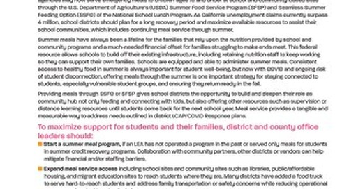 Schools and Summer Meals-Prioritizing Child Nutrition During COVID