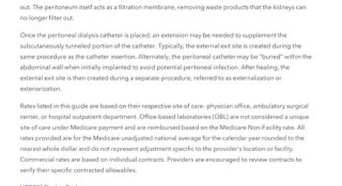 Reimbursement Guide: Peritoneal Dialysis Catheters