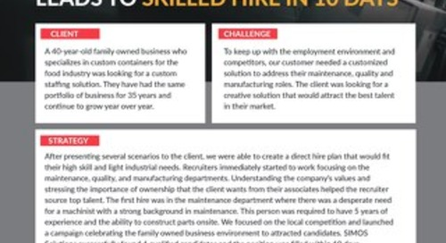 [Manufacturing] Customized Solution and Creative Partnership Leads to Skilled Hire in 10 Days Case Study