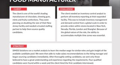 [Manufacturing] Detailed Market Analysis Leads to Quick Hire for Food Manufacturer