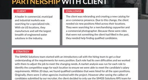 [Manufacturing] Experienced RPS Team Efforts Lead to Sole Partnership With Client Case Study