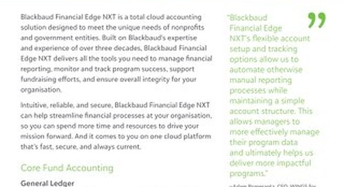 Financial Edge NXT Datasheet - Features and Packages