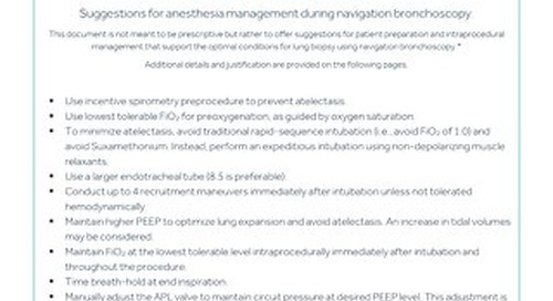Guide: Suggestions for Anesthesia Management During Navigation Bronchoscopy