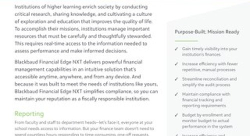 Datasheet: Blackbaud Financial Edge NXT for Higher Education Institutions