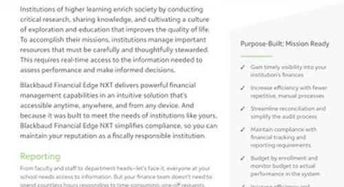 Datasheet: Blackbaud Financial Edge NXT for Higher Education Institutions