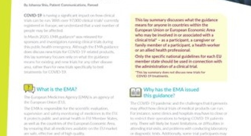 EMA Guidance: Management of Clinical Trials - What it means for Patients?