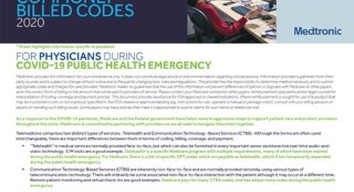 Telemedicine Commonly Billed Codes 2020