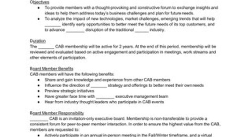 Sample Customer Advisory Board Charter