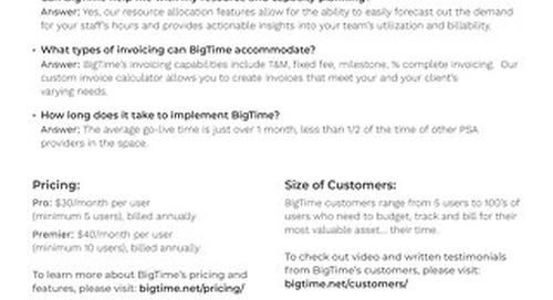 BigTimeSage Intacct Sales Cheat Sheet