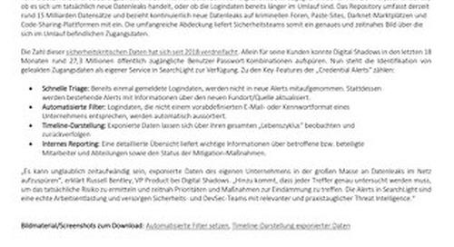 Neu in SearchLight: Alerts für exponierte Zugangsdaten im Darknet