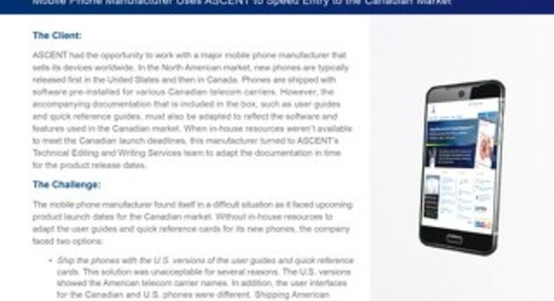 Mobile Phone Manufacture relies on ASCENT's Technical Writing Services for entry into the Canadian Market