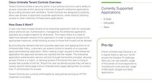 Cisco Umbrella Tenant Controls