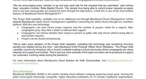 Blackbaud Releases New Virtual Prayer Wall Technology for Churches