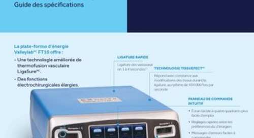 Guide des spécifications : Plate-forme d'énergie Valleylab FT10