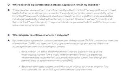 BIPOLAR RESECTION SOFTWARE APPLICATION