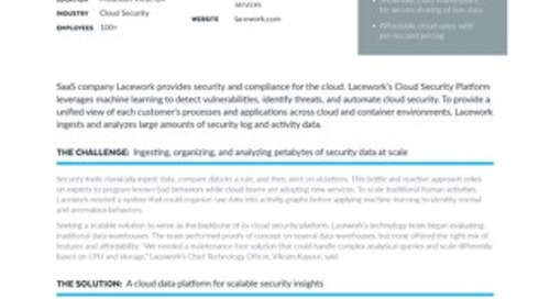 Lacework Architects Cloud Security Platform for 50% Less with Snowflake